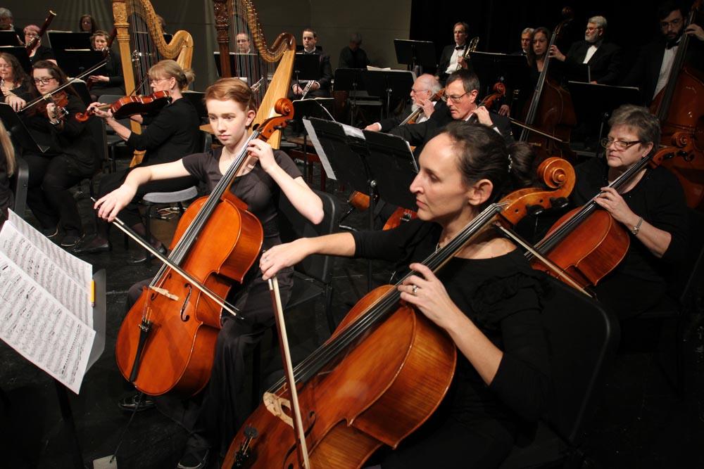 Cello section of the Newton Mid Kansas Symphony Orchestra